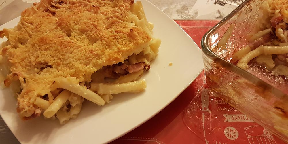 Gratin de macaronis au gorgonzola et gruyère