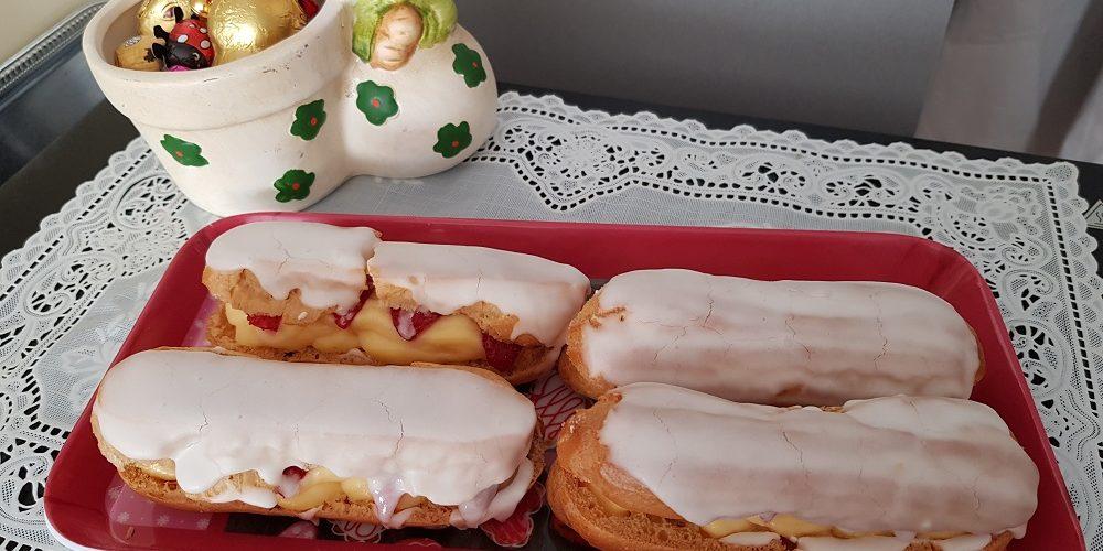 Éclairs crème pâtissière et fraises