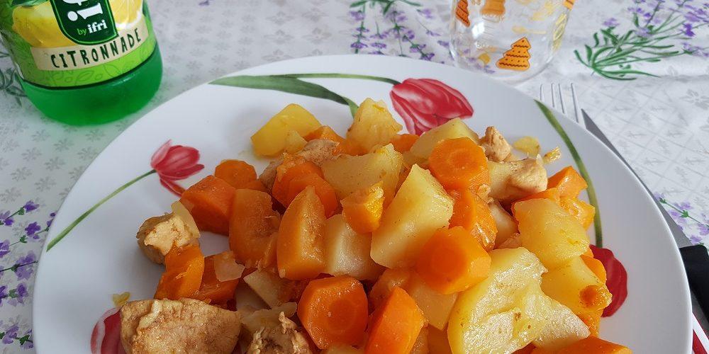 Poulet pommes de terre potiron et carottes au curry