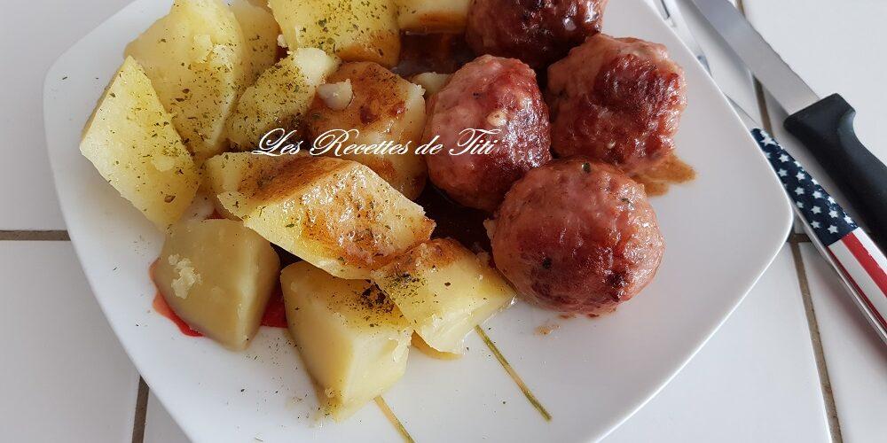 Boulettes cajun et pommes de terre vapeur