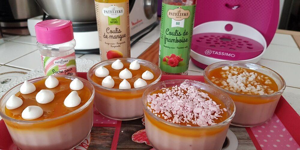 Crème dessert framboise et coulis de mangue