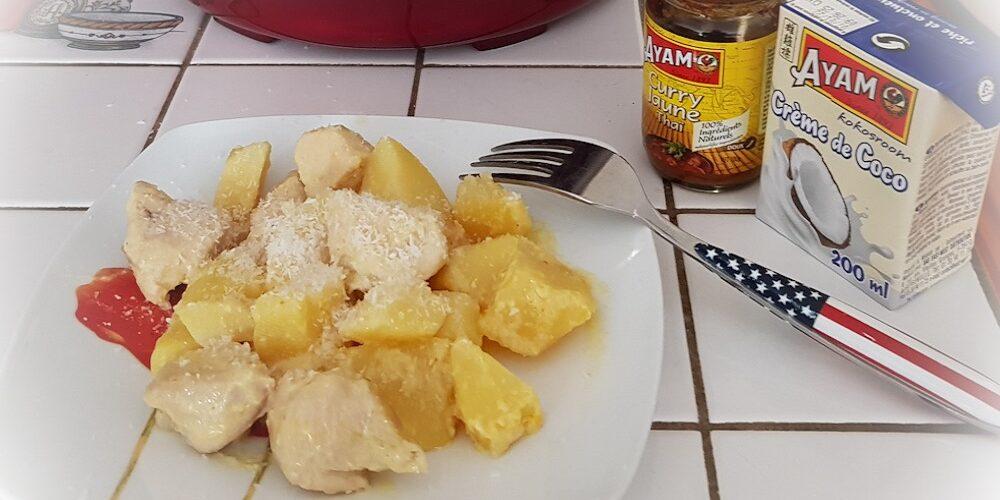 Blancs de poulet et pommes de terre à la crème de coco et curry