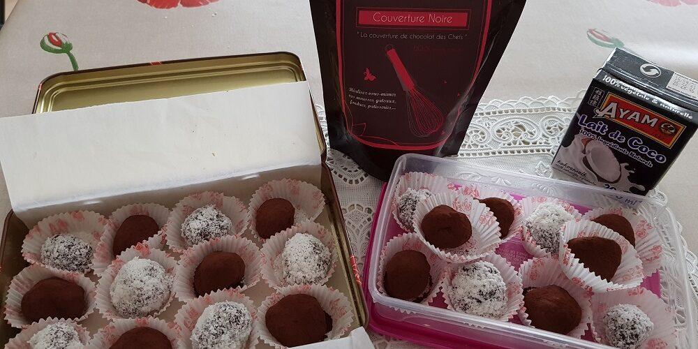 Truffes chocolat noir et coco