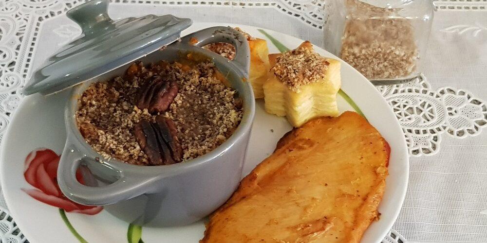 Cassolettes de patate douce et crumble de noix de pécan